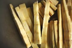 Sugar cane cut up for juicing